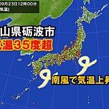 北陸で昼前に気温35度超 9月として7年ぶり