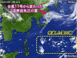 台風まだくる? 南海上に発達した雲の塊
