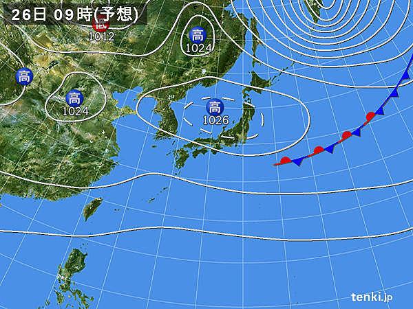 あすは高気圧にすっぽり 西日本は雨の所も