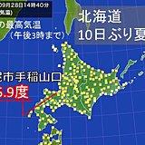 北海道 10日ぶりに夏日