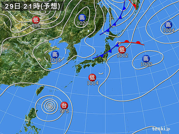 29日(日) 広く大気の状態が不安定に