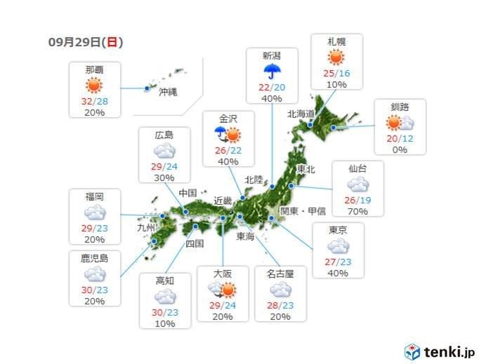 29日(日) 雲が多い 急な強い雨や雷雨に注意