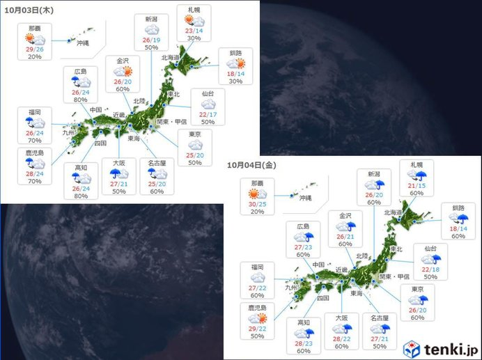 3日~4日は広く雨