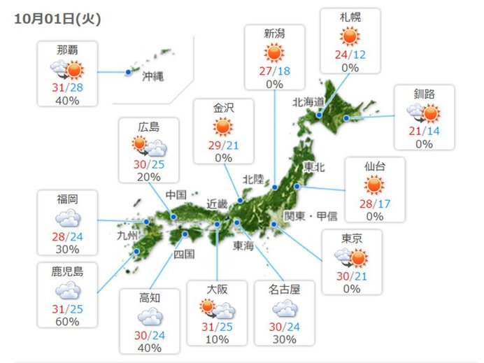 西日本・東日本 大気の状態不安定