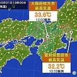 近畿や東海の所々で10月の最高気温1位を更新