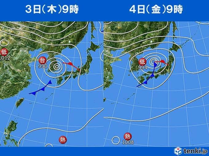 木曜から金曜 強雨エリア西から東や北へ