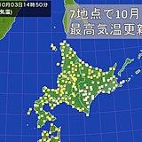 北海道 今日も季節外れの暑さに