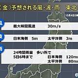 4日夜 低気圧通過で大荒れ 東北