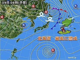 北海道 9日は暴風に警戒を 落雷、突風にも注意