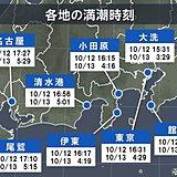 台風19号 接近・満潮・大潮重なるおそれ 高潮警戒
