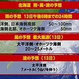 北海道 13日は大荒れの天気へ