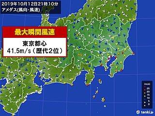 台風19号 東京都心でも猛烈な風 歴代2位