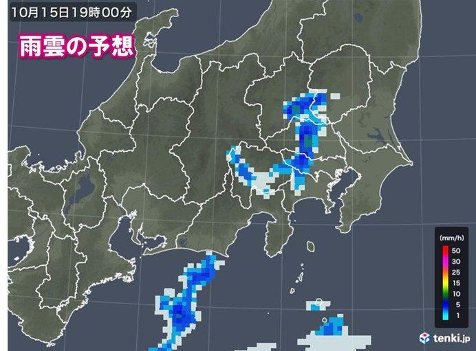 関東甲信など被災地周辺は夕方から所々で雨