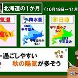 北海道1か月 晴れる日多く、気温は高め