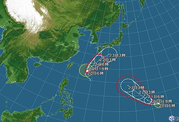 二つの台風が列島へ 本州の南に延びる前線も北上