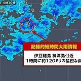 伊豆諸島で約120ミリ  記録的短時間大雨情報