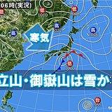 平地は冷たい雨 日本アルプスでは雪