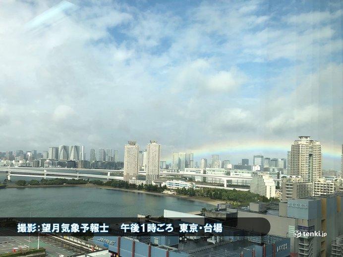 新時代の到来を祝う虹の架け橋 都心にかかる