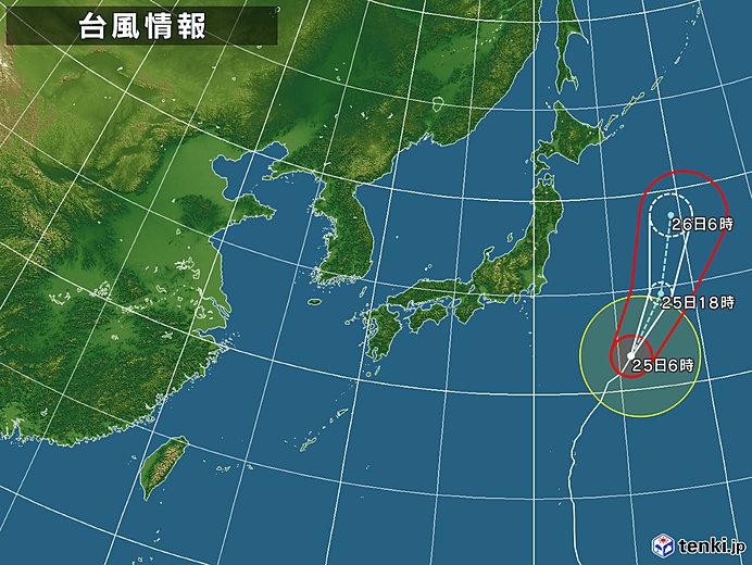 強い台風21号 日本の東を北上