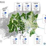 関東 明日は雨でヒンヤリ 今日との寒暖差は5℃前後