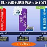 台風猛威で記録的な雨量だった10月 11月は?