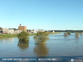 利根川 台風19号で水位も流量もカスリーン超え