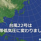 台風22号(マットゥモ)は熱帯低気圧に変わりました