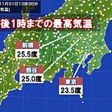関東 11月なのに夏日 夜は気温急降下