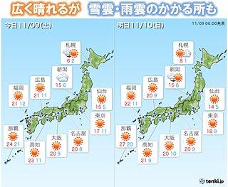 土日 北海道は積雪・凍結注意 本州日本海側は急な雨