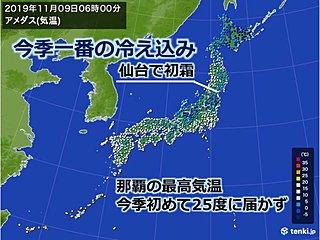 進む季節 仙台は初霜 那覇は今季初めて25度届かず
