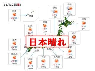 10日 日本晴れの所が多い 夜は九州で雨か雷雨に