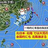 14日 北日本は暴風・暴風雪に 全国でも北風強まる