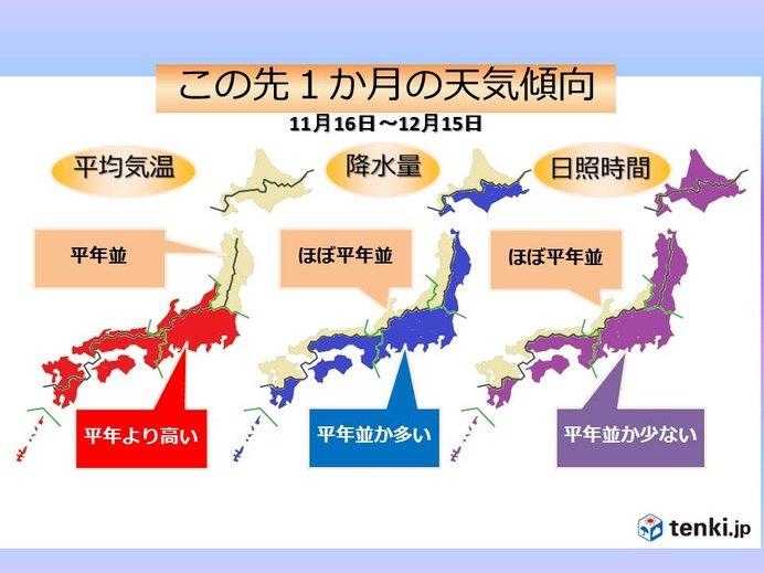 1か月 東・西日本は高温傾向 冬への歩みはゆっくり