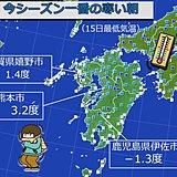 強い冷え込み 九州南部でも初の冬日