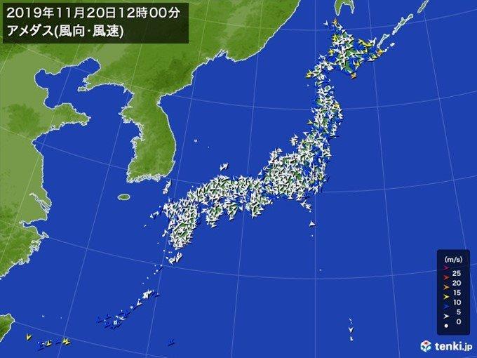 北日本で暴風が吹き荒れる