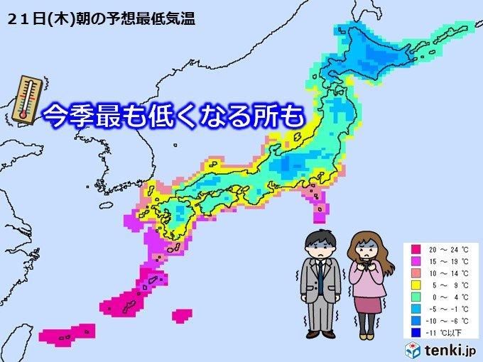 木曜朝は今季一番の冷え込み 都心や名古屋も寒い朝