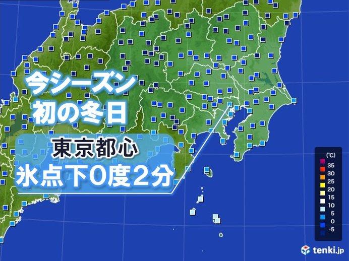 東京都心ブルブル 今シーズン初の冬日