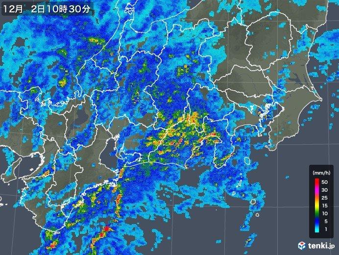東海に活発な雨雲 関東も夕方まで激しい雨に注意