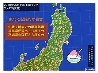 東北で記録的な暑さ 33度以上