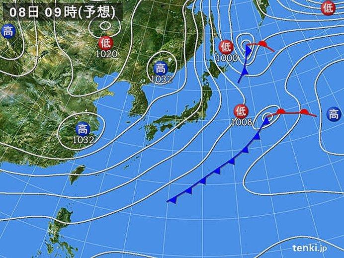 8日(日)日本海側は雪降りやすく 太平洋側は冬晴れ