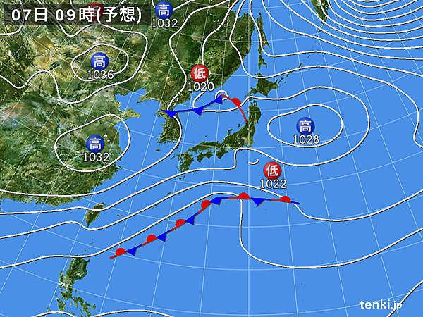 7日(土) 関東に雨雲かかる 雪が交じる所も