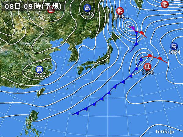 8日(日) 北海道は雪や吹雪