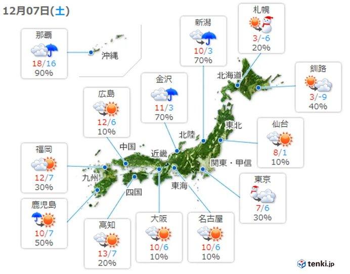 日中は関東以西の所々で冷たい雨や雪 夜は北陸以北で広く雪や雨