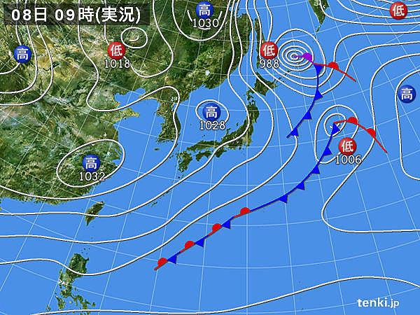 きょう8日(日) 北海道は真冬並みの気温