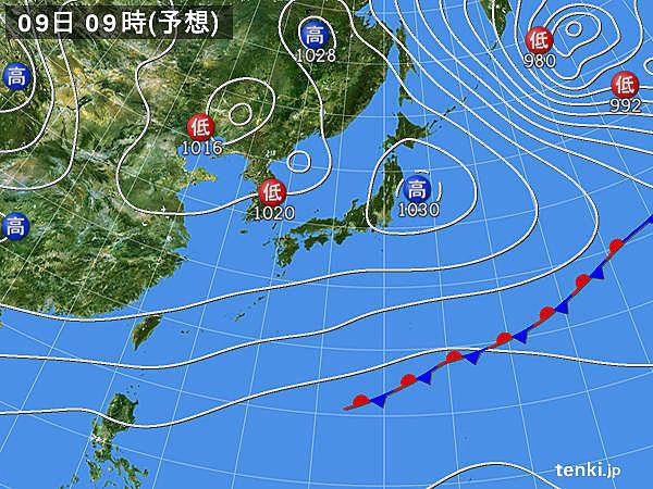 あす9日(月)~11日(水) 日本列島に暖気流入 かなりの高温に