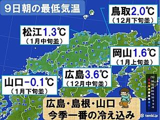 中国地方 松江で初氷・初霜