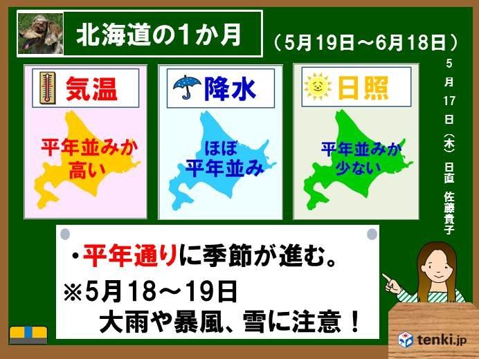 北海道の1か月 気温は高めの傾向が続く
