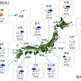 17日 広い範囲で本降りの雨 関東は冷たい雨に