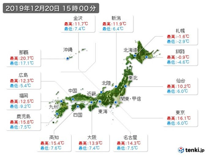 関東はコートいらずも 北は気温低下