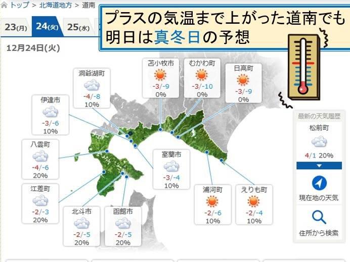北海道 寒さ続く 24日は全地点真冬日の可能性も